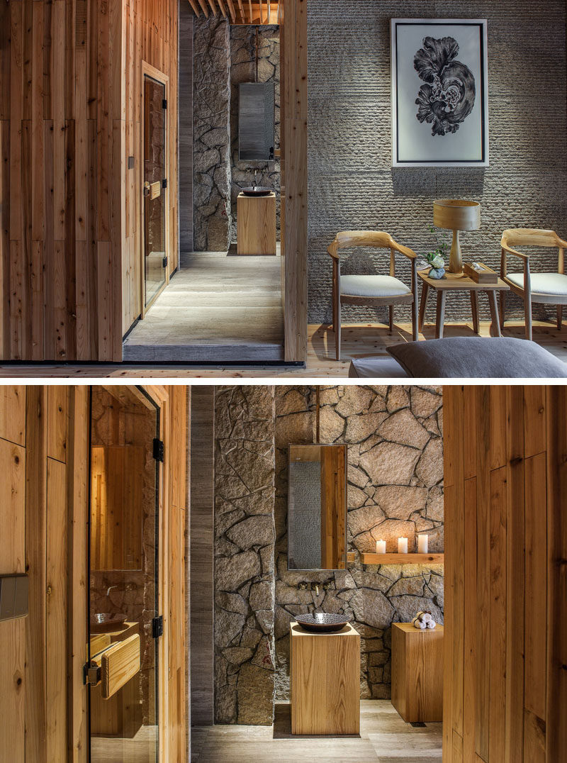 Wood and stone have been used in key design elements in this spa.