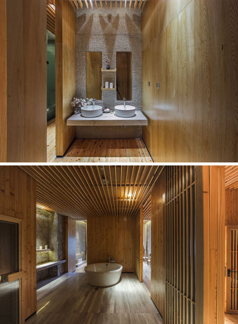 Bathroom inspiration from a spa in China. There's a floating vanity and a deep soaking tub.