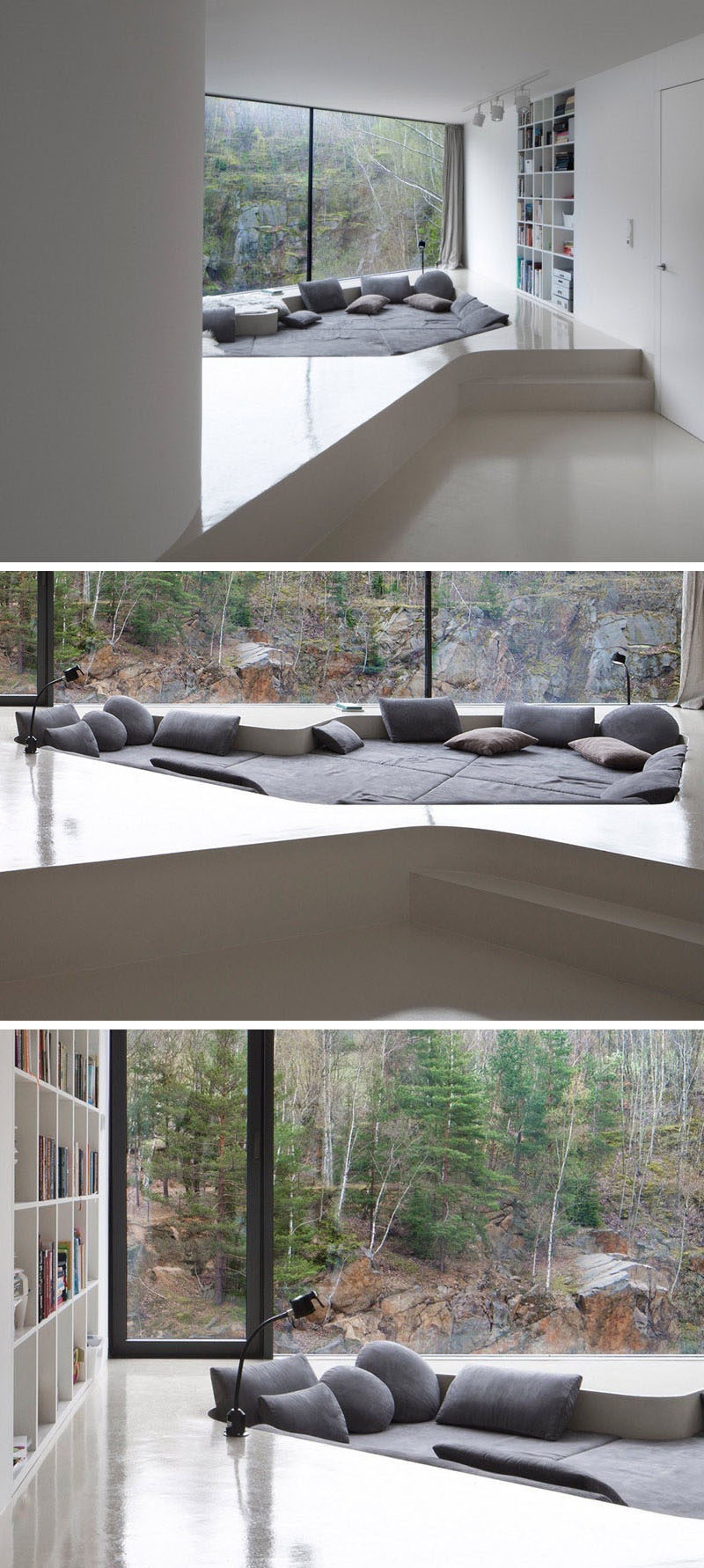 This comfy lounge area has been sunken into a built-up floor