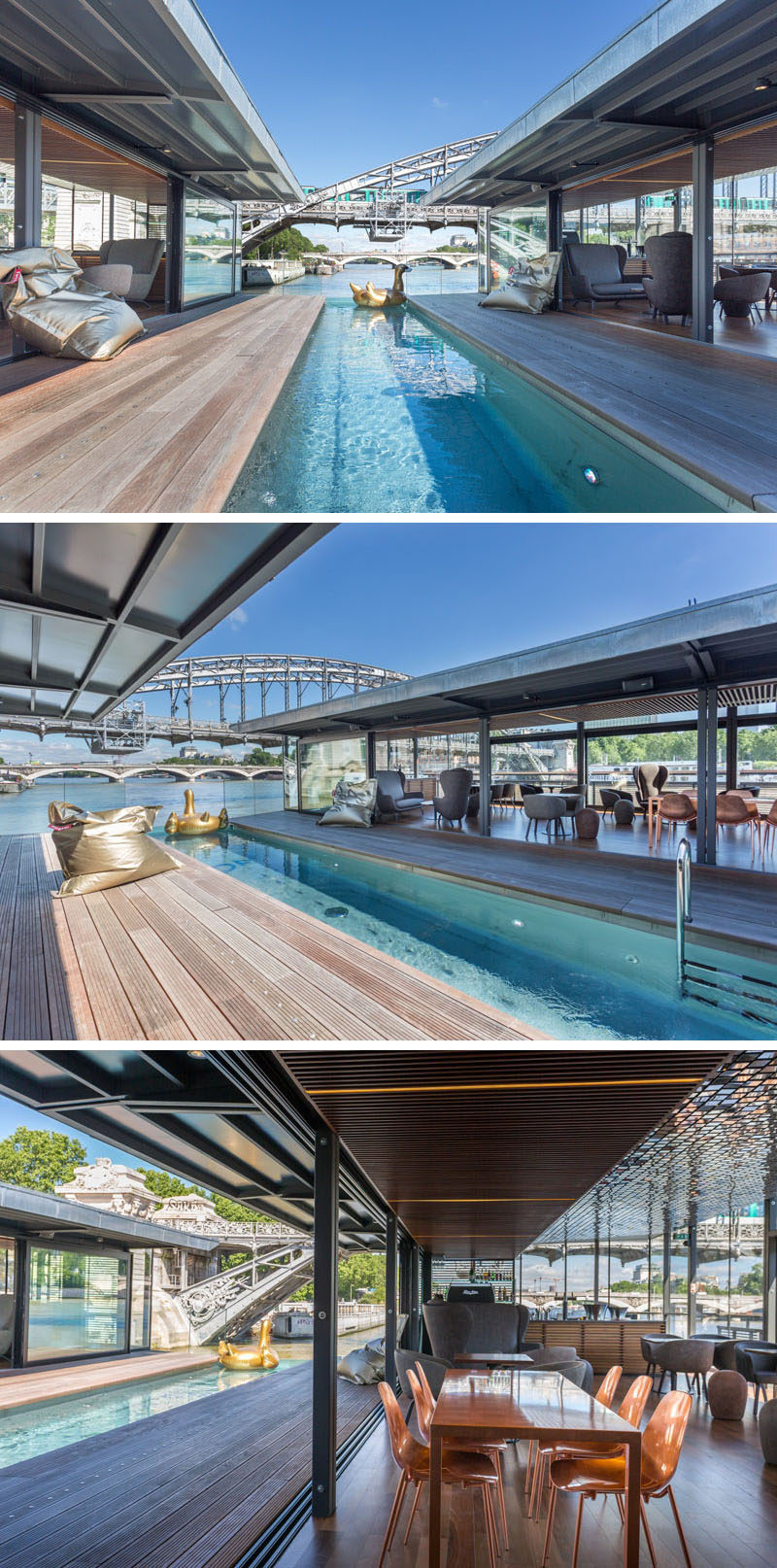 18 Photos of OFF, The Newly Opened Floating Hotel In Paris // The Pool and Bar Area