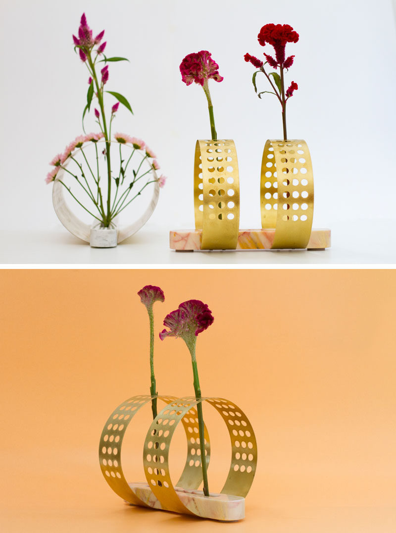 These vases were inspired by Japanese floral arrangements.