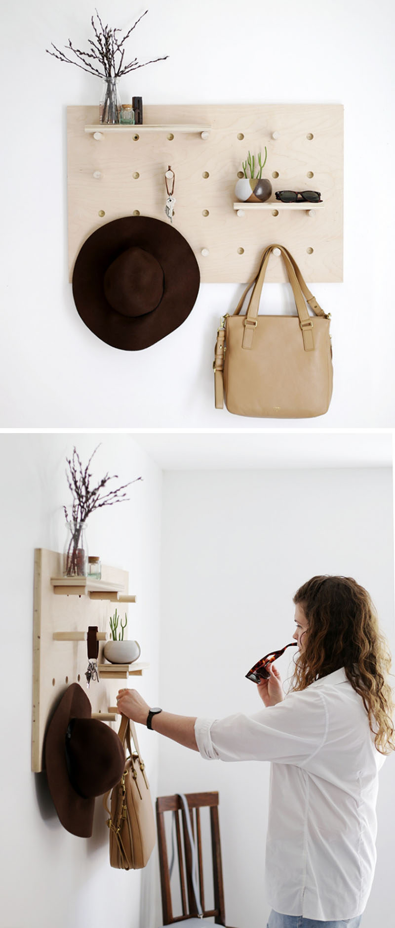 This pegboard is perfectly designed for your accessories…(it's a DIY project)