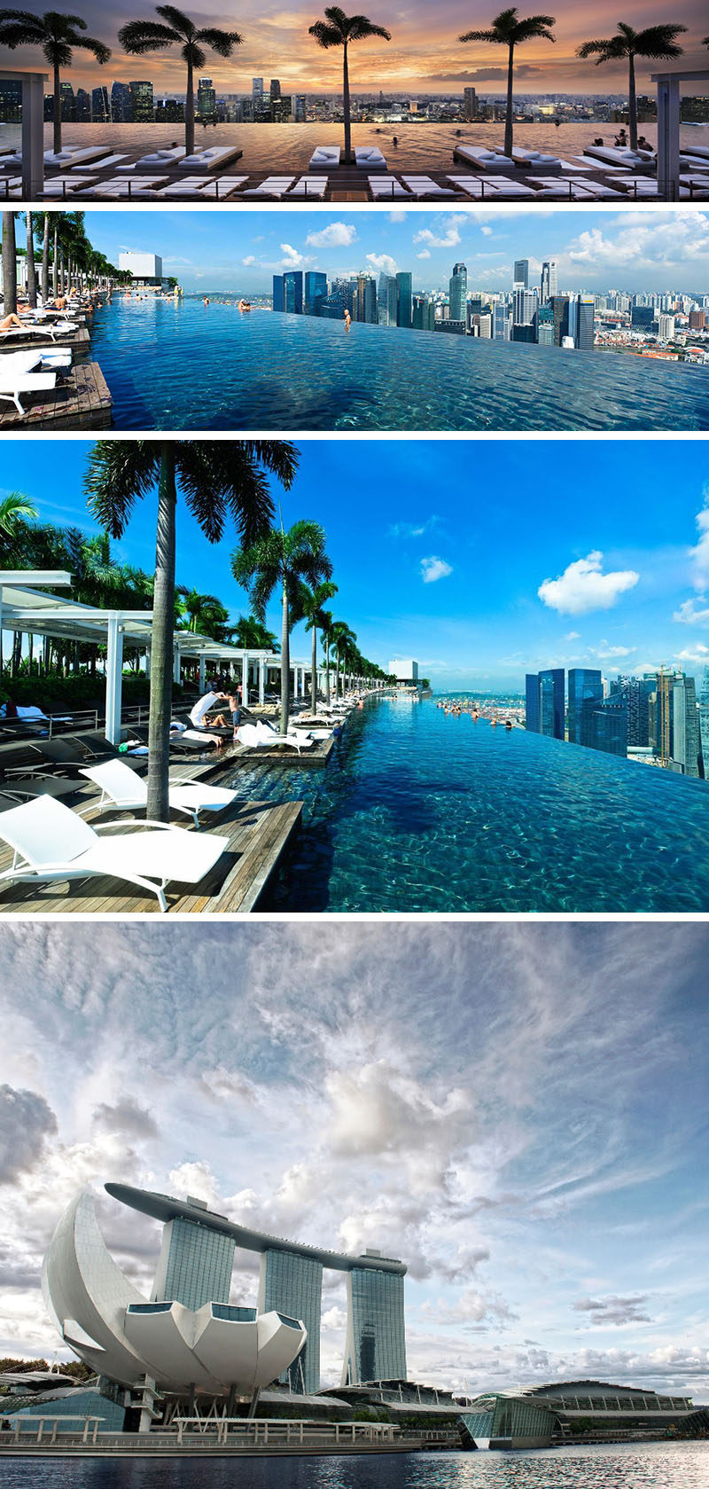 10 Incredible Hotel Rooftops From Around The World // 2. The infinity pool on top of the Marina Bay Sands hotel in Singapore is as long as three Olympic size swimming pools and is 57 levels up.