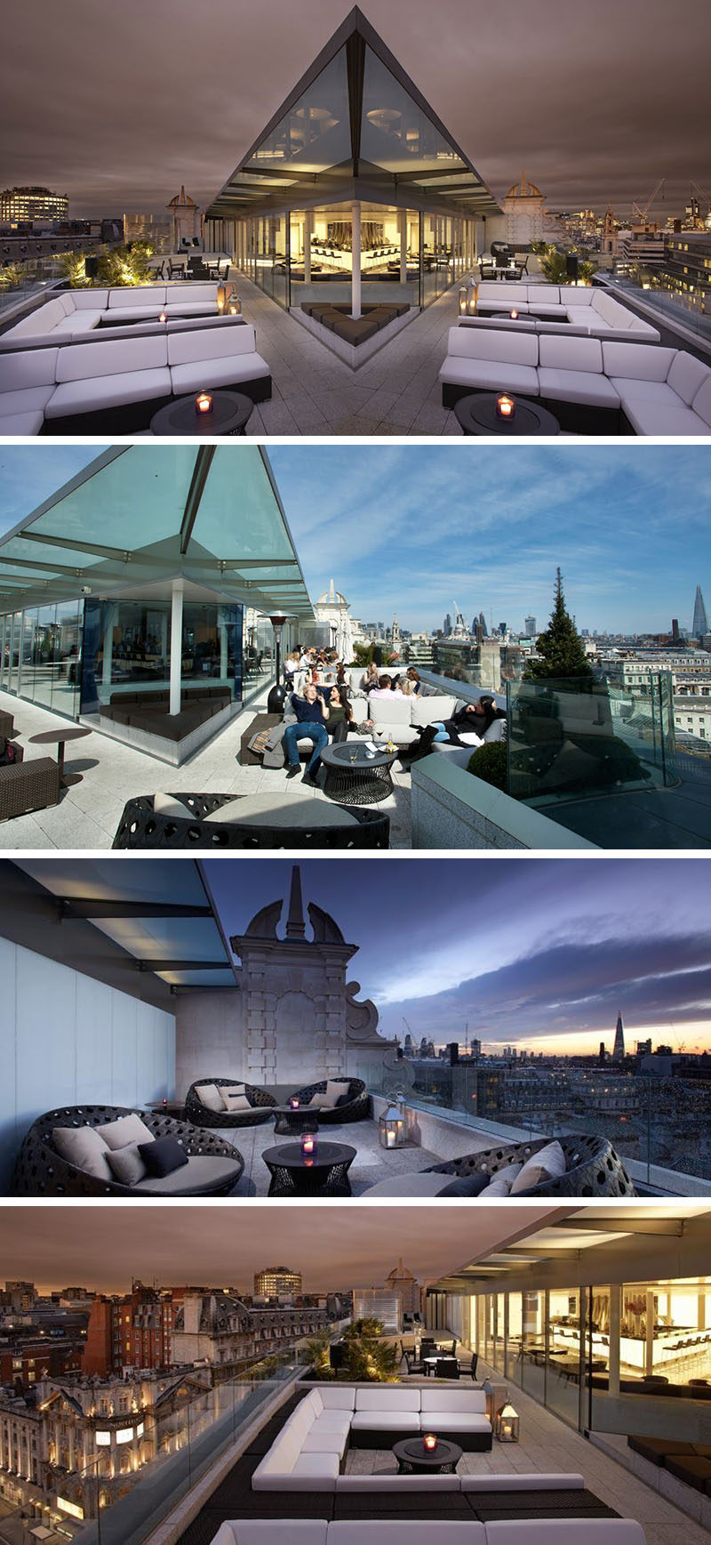 10 Incredible Hotel Rooftops From Around The World // 4. From Radio Rooftop Bar of ME London hotel you get incredible views of all the main attractions, including Trafalgar Square, Tower Bridge, and St. Paul's Cathedral.