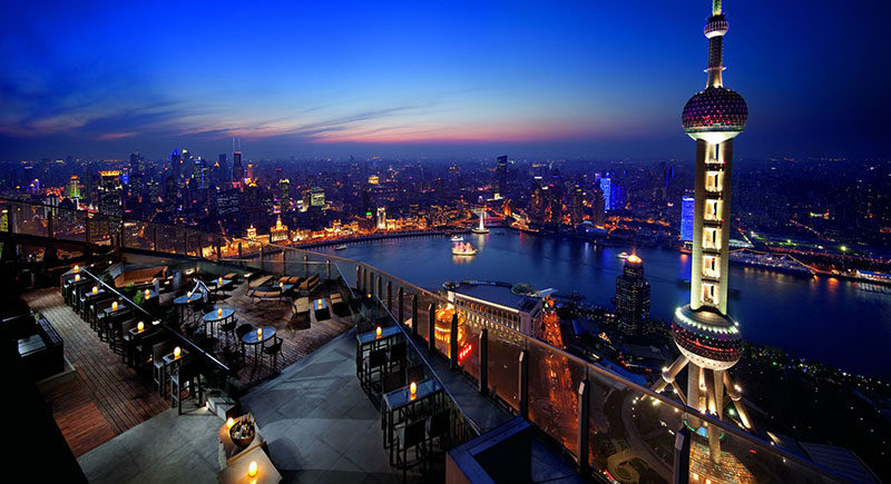 10 Incredible Hotel Rooftops From Around The World // 6. The rooftop of the Ritz-Carlton in Shanghai offers incredible views of the city and is right next to the Oriental Pearl Tower.