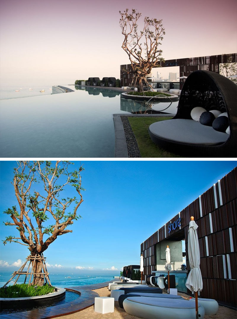 10 Incredible Hotel Rooftops From Around The World // 7. The rooftop pool and bar of the Hilton Hotel in Pattaya, Thailand has fantastic views of the water below.