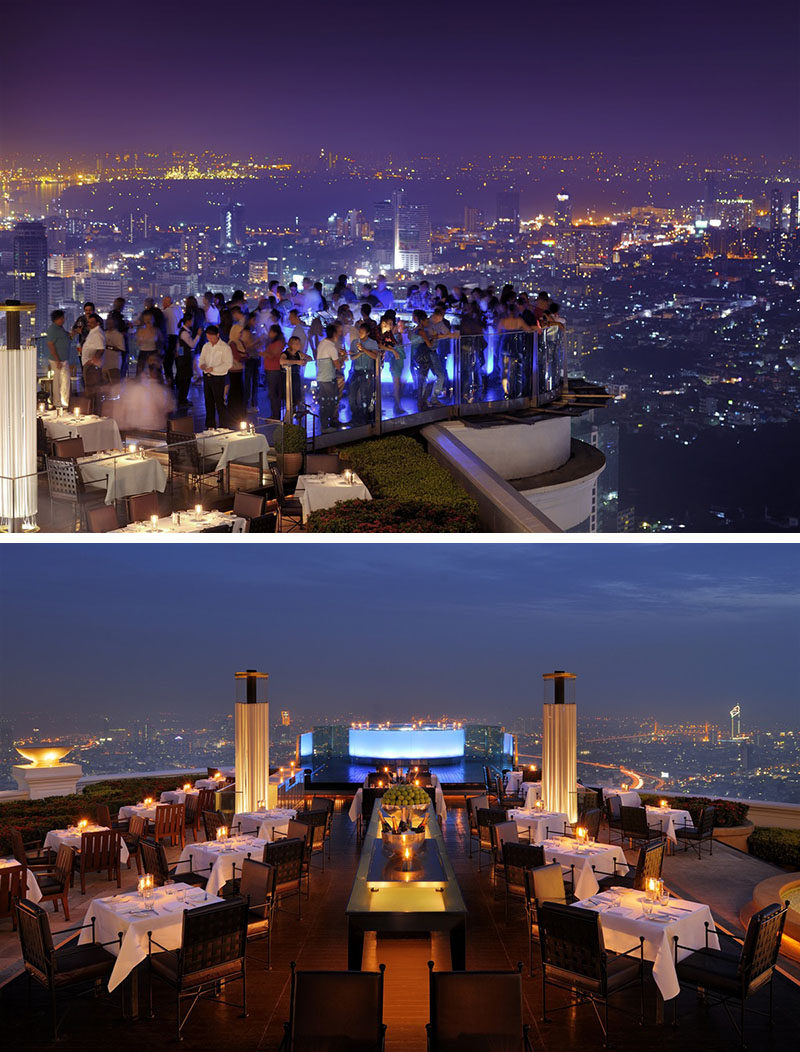 10 Incredible Hotel Rooftops From Around The World // 9. The Sky Bar atop the lebua State Tower is the highest rooftop bar in the world.