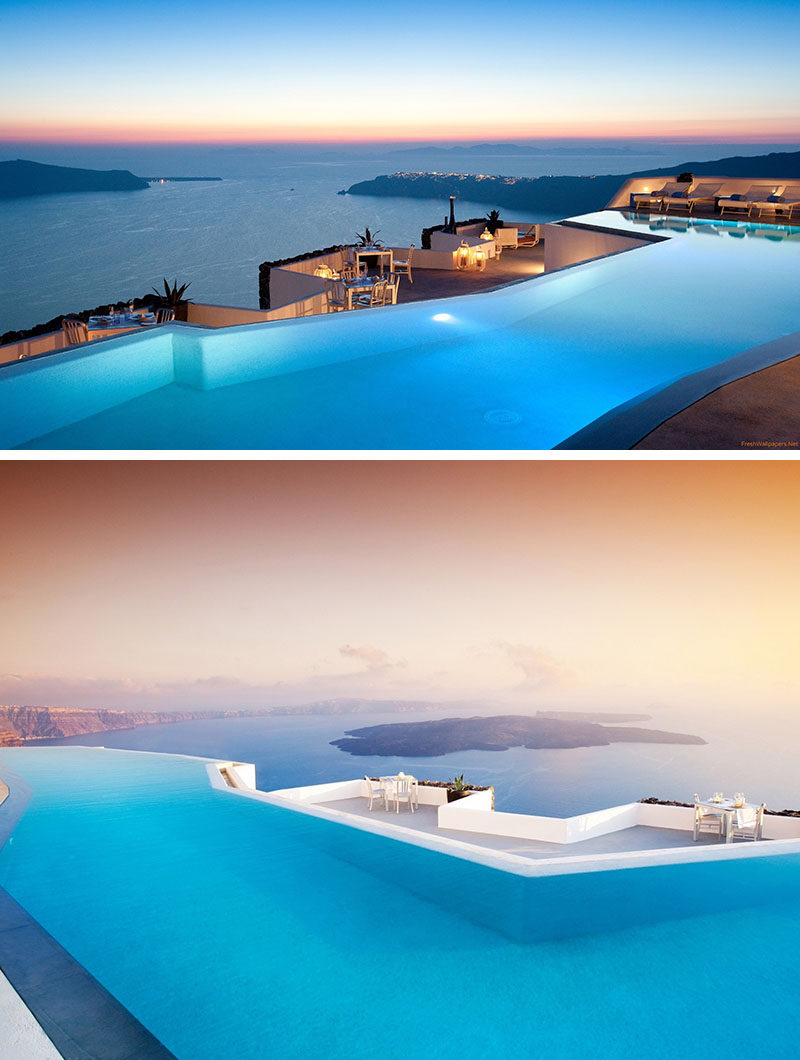 10 Incredible Hotel Rooftops From Around The World // 10. Gaze out at the Mediterranean Sea while floating in the infinity pool of the Grace Hotel in Santorini, Greece.