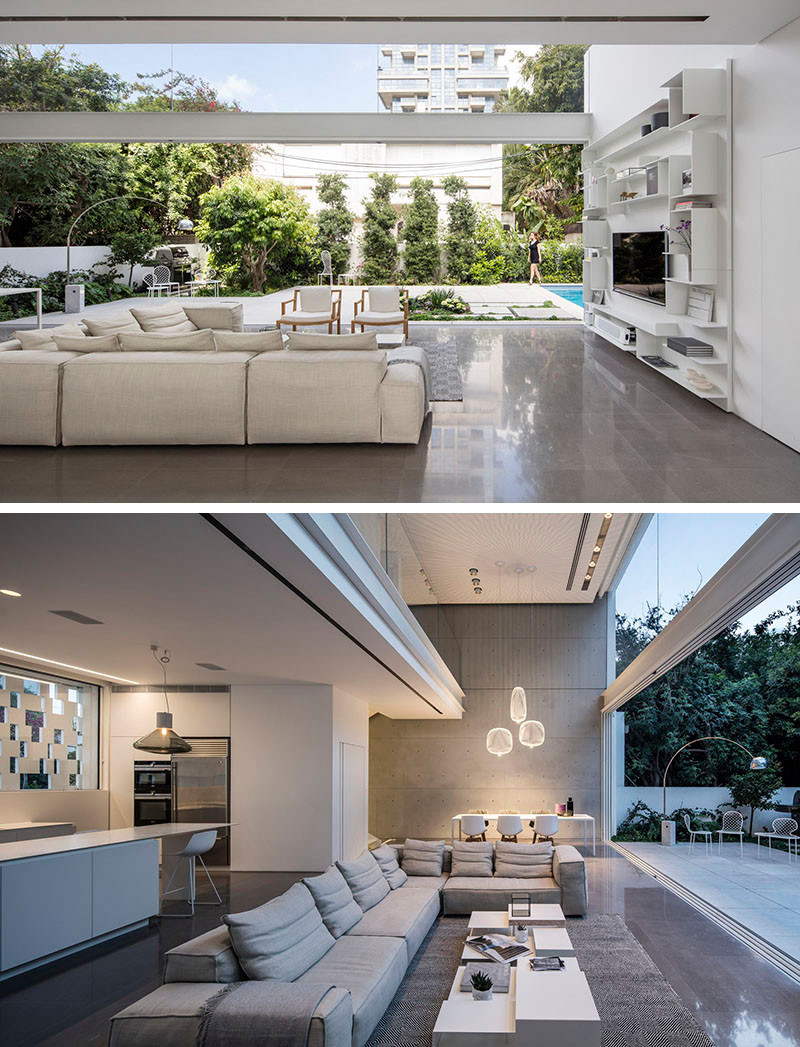 Large sliding glass doors retract to essentially double this home's living space.