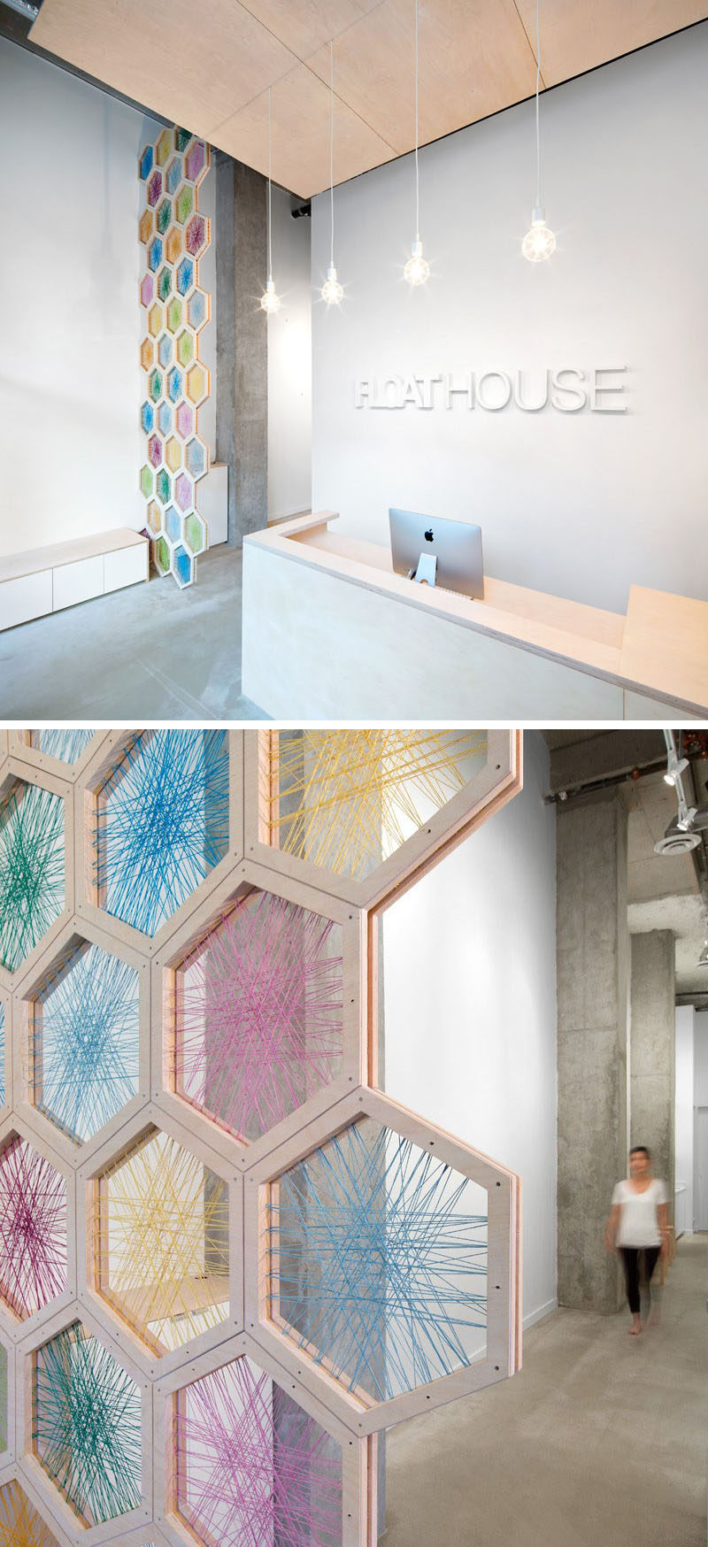 19 Ideas For Using Hexagons In Interior Design And Architecture // A 17 foot tall screen made from birchwood hexagons woven with colorful twine greets you as you enter the FloatHouse in Vancouver.