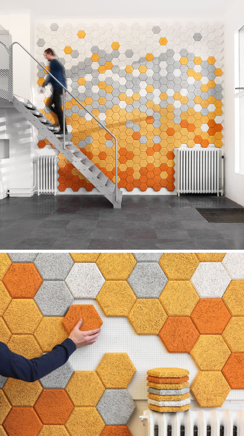19 Ideas For Using Hexagons In Interior Design And Architecture // These hexagon sound absorbing panels are made of wood slivers, cement, and water.