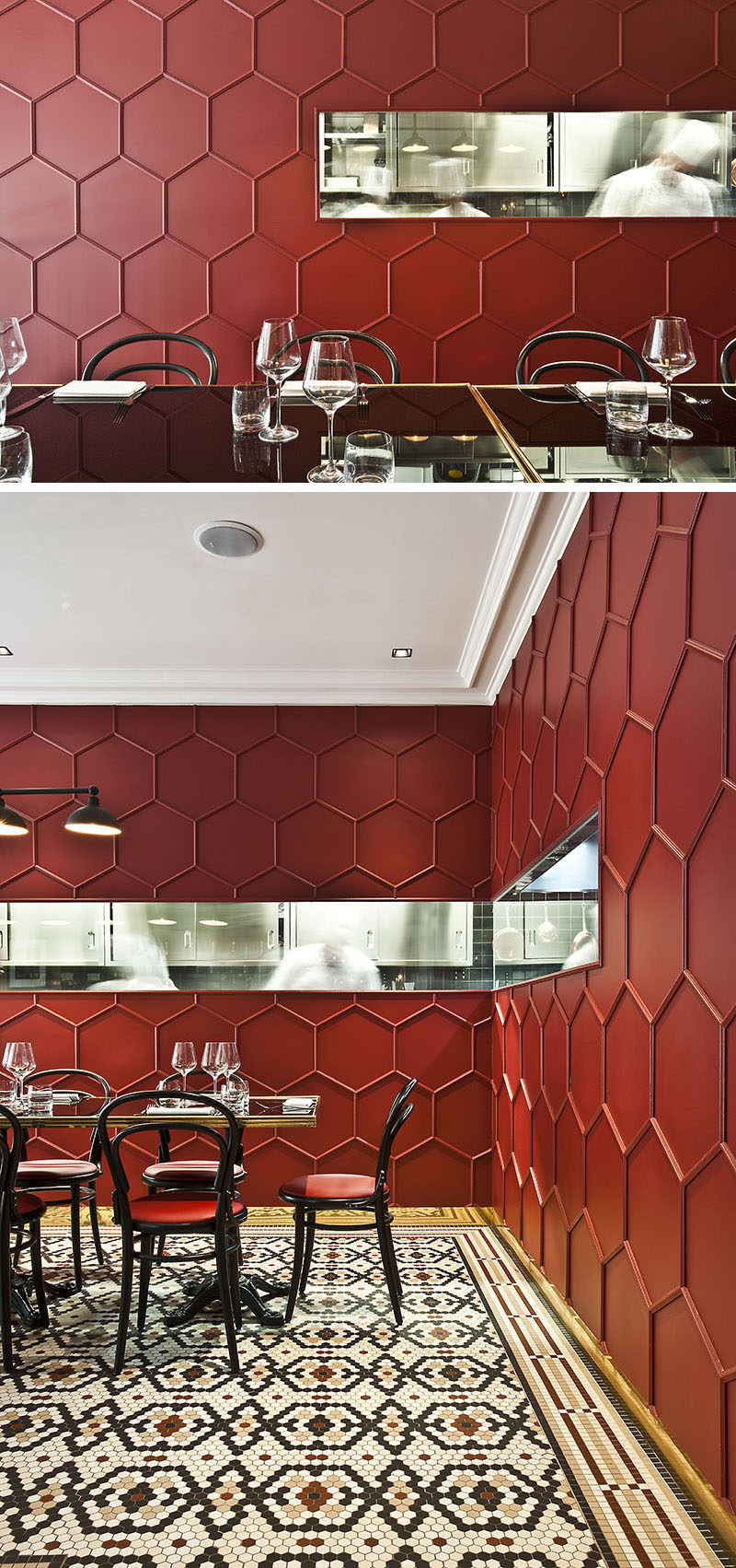 19 Ideas For Using Hexagons In Interior Design And Architecture // Karine Lewkowicz, the designer of this Milan restaurant, used wooden moulding to create a 3D honeycomb pattern on the walls.