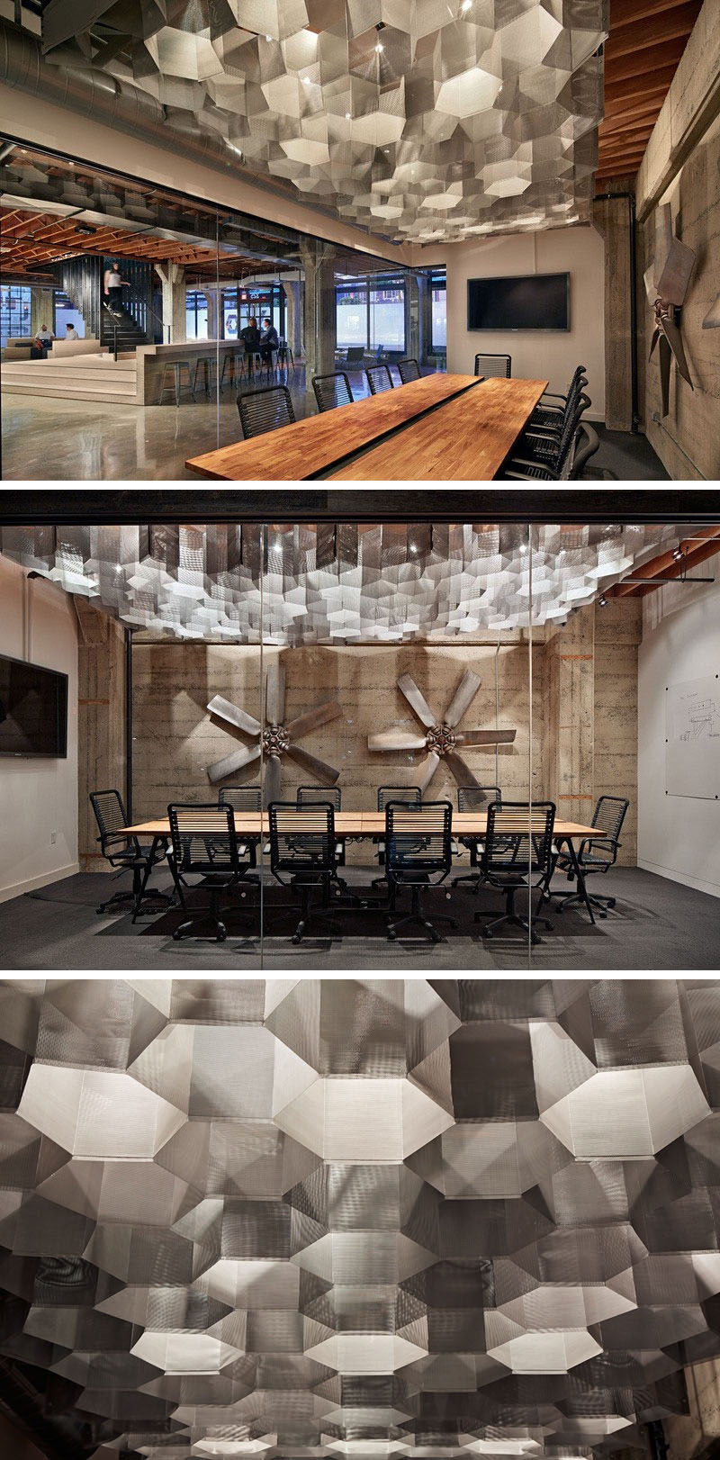 19 Ideas For Using Hexagons In Interior Design And Architecture // Metal hexagon-shaped lights have been used as an artistic feature in this meeting room. #Hexagons #Workplace #CeilingIdeas #InteriorDesign