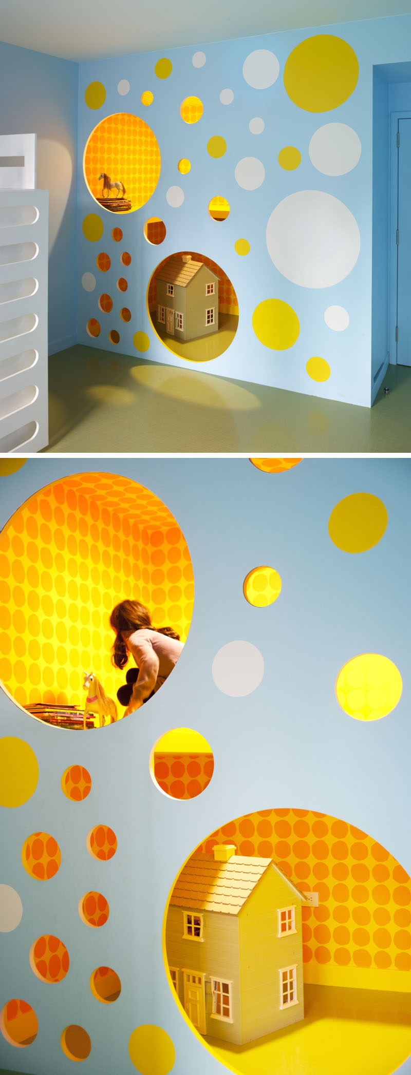 11 Kids Only Hideouts That Even The Biggest Grownups Would Be Jealous Of // A renovated closet became colorful wall full of cut out circles, making room for a great place to hideout. Apart from being a fun design element, the circles also act as climbing holes to the lofted space.