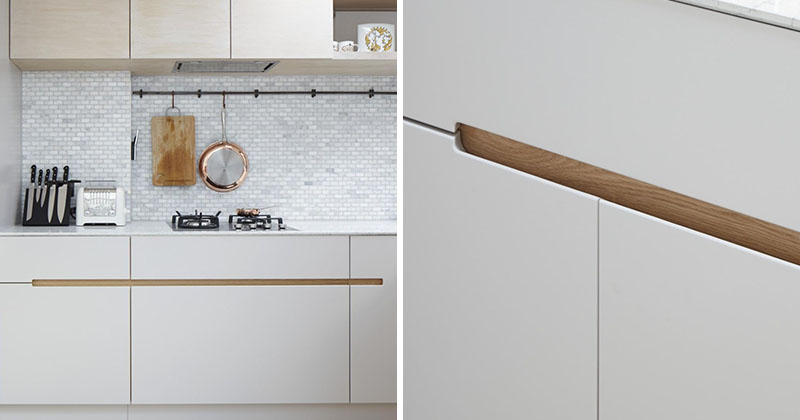 No hardware for the kitchen cabinets in this london home for Kitchen units without doors