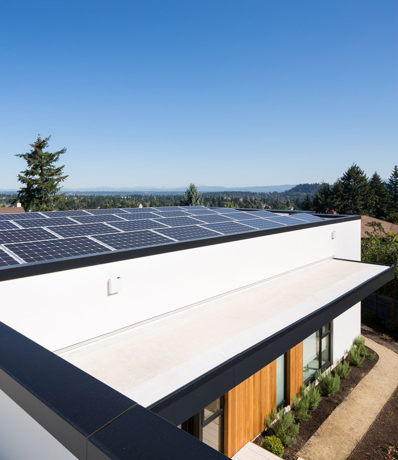 This home in Portland, Oregon, has a large area of the roof dedicated to solar panels.