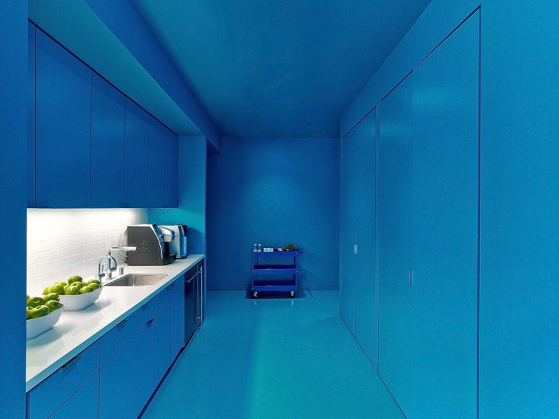 10 Examples Of Monochromatic Interiors // This kitchen in an L.A office is definitely blue (with a touch of white).