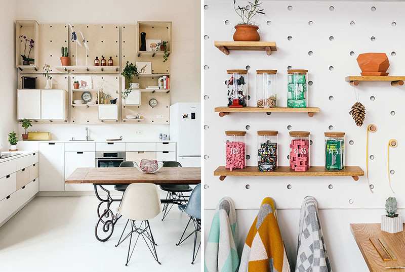 surprising Using Pegboard In Kitchen Part - 5: 9 Ideas For Using Pegboard And Dowels To Create Open Shelves