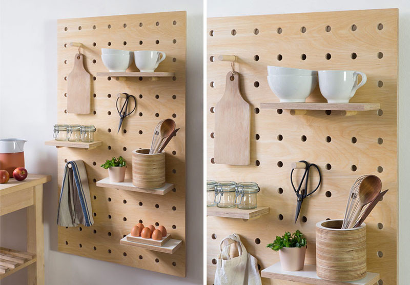 9 Ideas For Using Pegboard And Dowels To Create Open Shelving // These pegboards are made from thick solid white birch for strength and sturdiness, perfect for holding mugs, bowls and kitchen accessories.