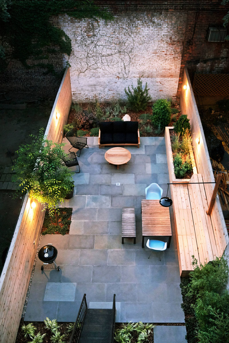 Entertaining can go late into the night with the built in lighting in this backyard.