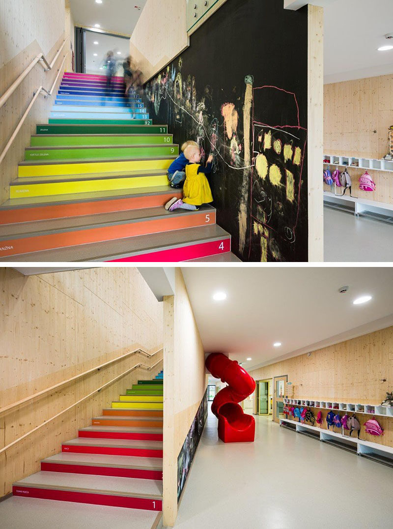 7 Inspiring Examples Of Rainbow Stairs // This kindergarten in Slovenia, has rainbow stairs that have the colors written on them, as well as numbers, so when children climb them, they are able to learn as they go.