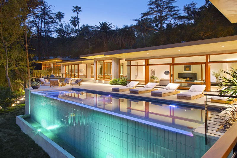 This Californian home has a large infinity edge pool and deck.