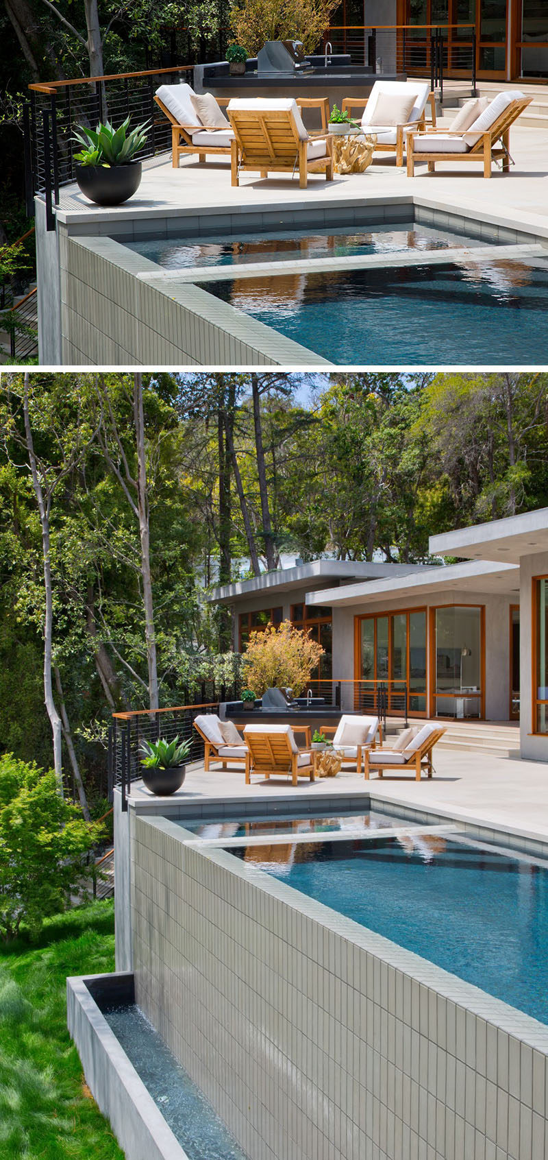 This home has an infinity edge swimming pool and a great space for lounging in the sun.