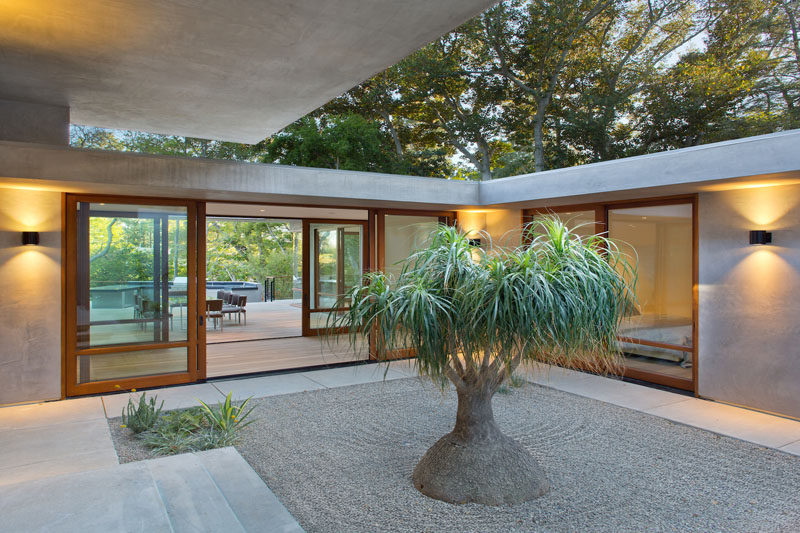 This home has a small courtyard that some rooms open up to.
