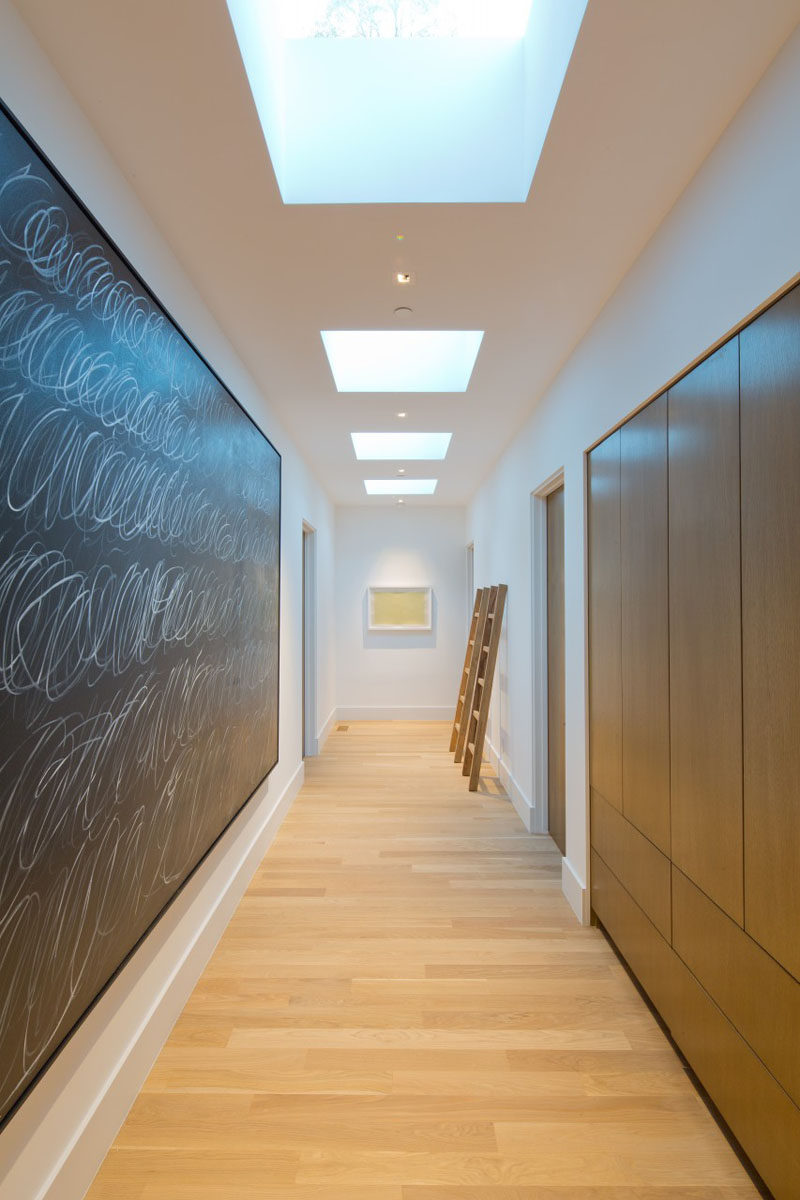 This hallway is filled with skylights to add natural light.