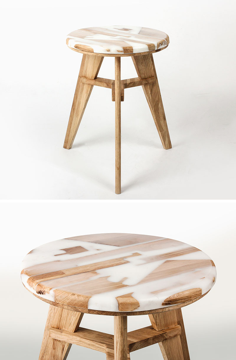 Hattern, a design studio based in Seoul, South Korea, focuses on up-cycling and extracting patterns from waste, and they have created a stool from wood and resin, named 'Zero Per Stool'.