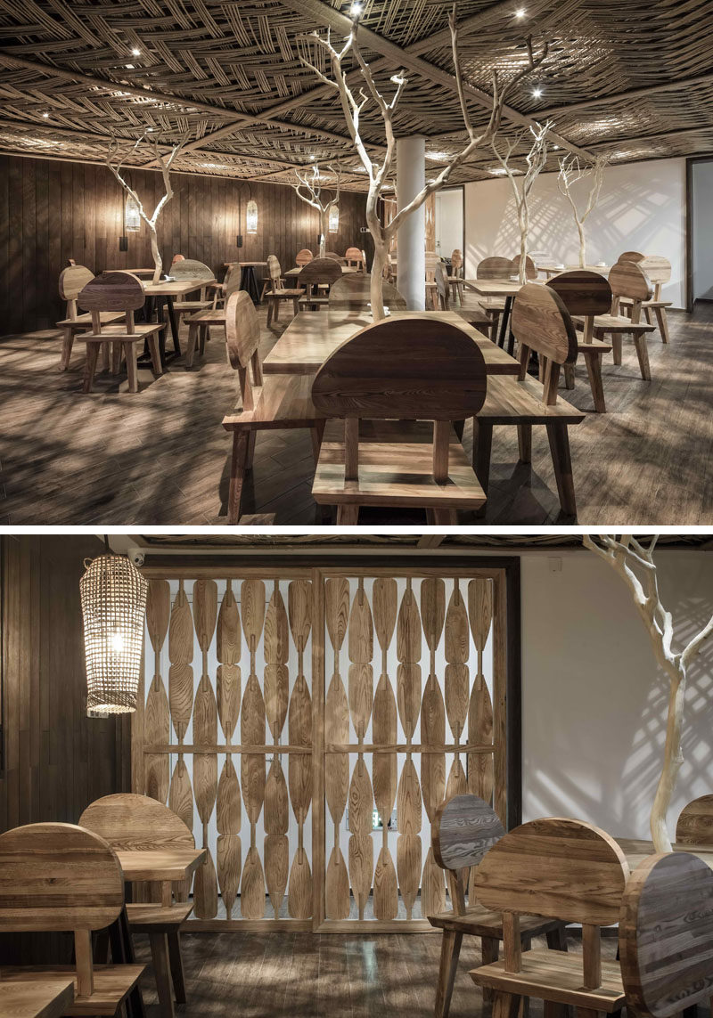 23 Pictures Of The Ripple Hotel At Qiandao Lake, In Hangzhou, China // The hotel restaurant with custom wood features.