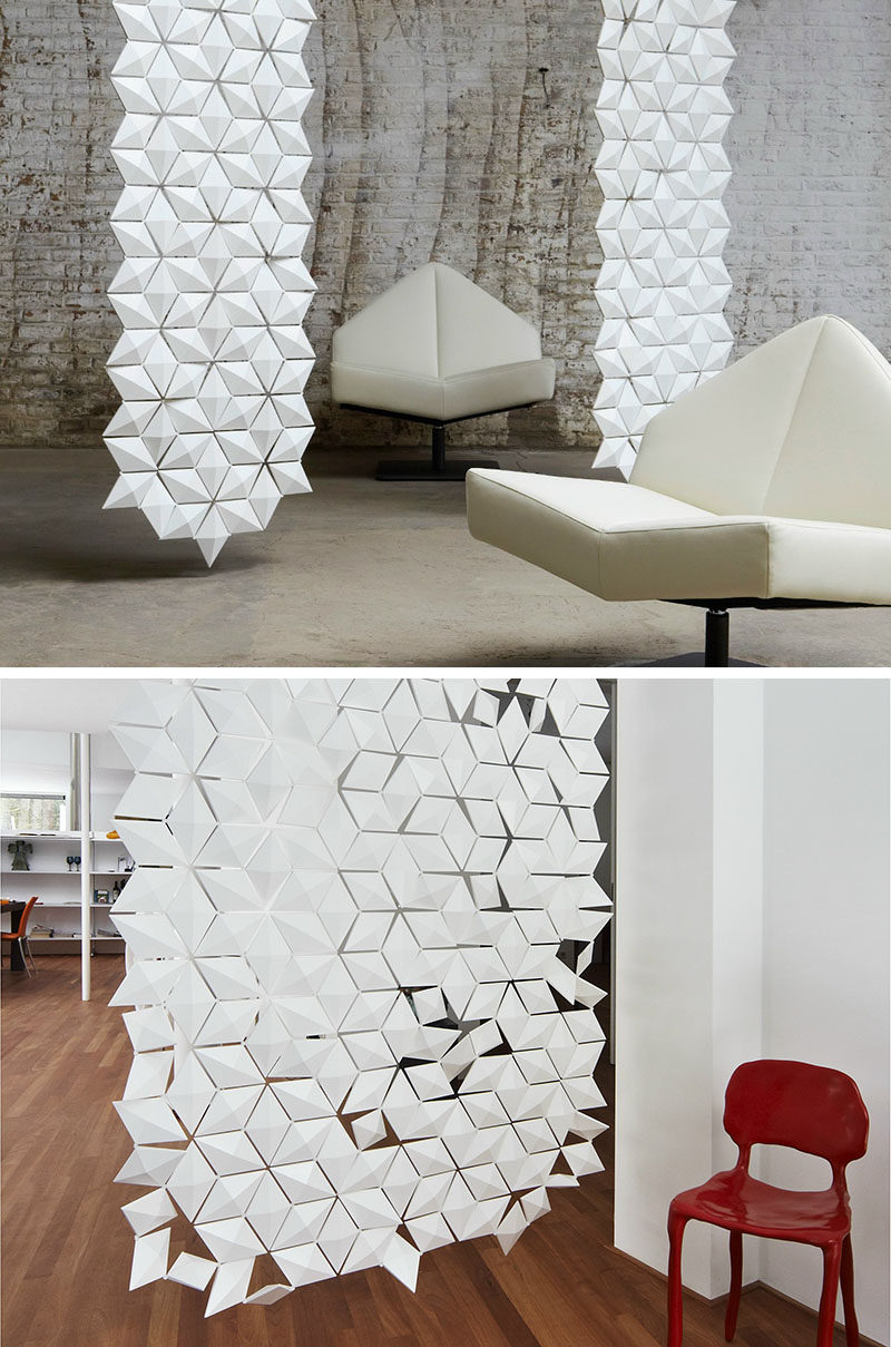 15 Creative Ideas For Room Dividers // Each of the diamond shapes that make up the panels of this room divider, can be rotated to create patterns using light and shadow.