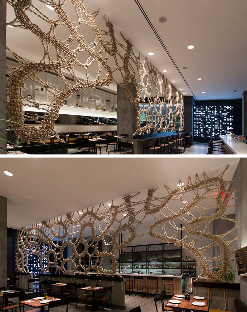 15 Creative Ideas For Room Dividers // This handmade rope screen divider is also an artistic feature in this restaurant.