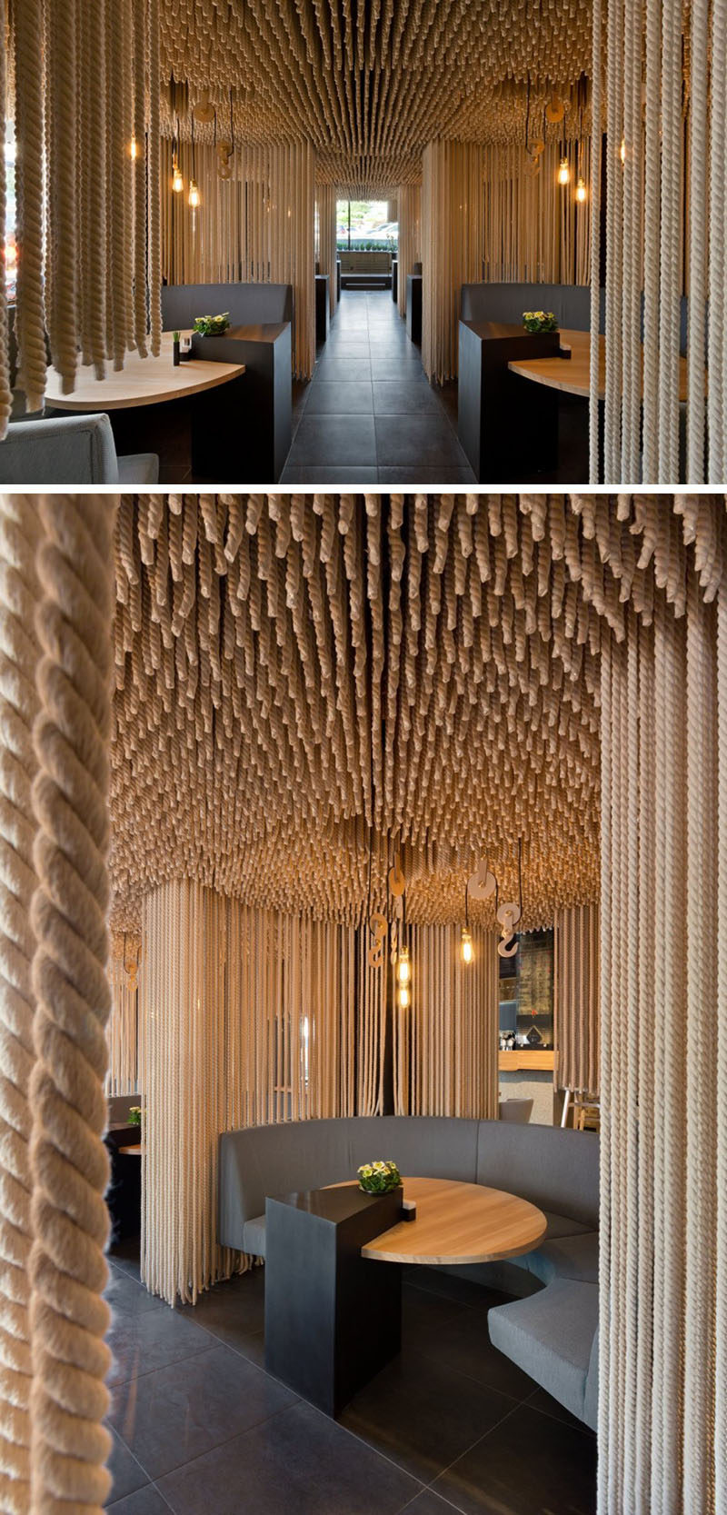15 Creative Ideas For Room Dividers // Suspended ropes give diners at this restaurant a sense of privacy while they eat.  #ModernRoomDivider #RoomDivider #InteriorDesign #Interiors
