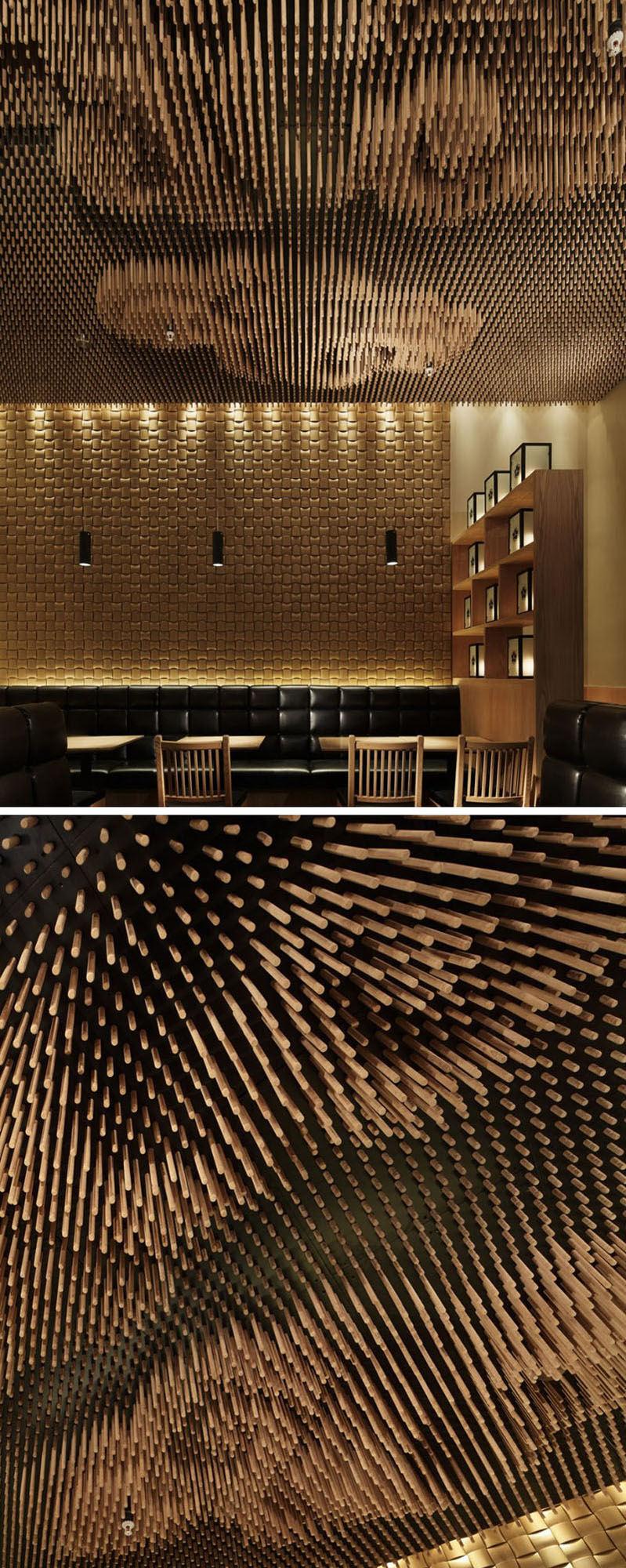 13 Amazing Examples Of Creative Sculptural Ceilings // The ceiling of this restaurant is made up of thousands of wooden sticks that were cut using specific calculations to increase the reality of the clouds.