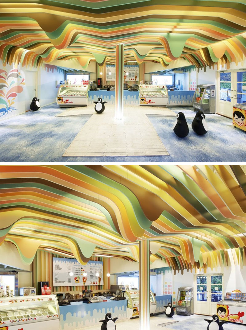 13 Amazing Examples Of Creative Sculptural Ceilings // The colorful ceiling in this ice cream shop was inspired by the flavors of ice cream they sell.