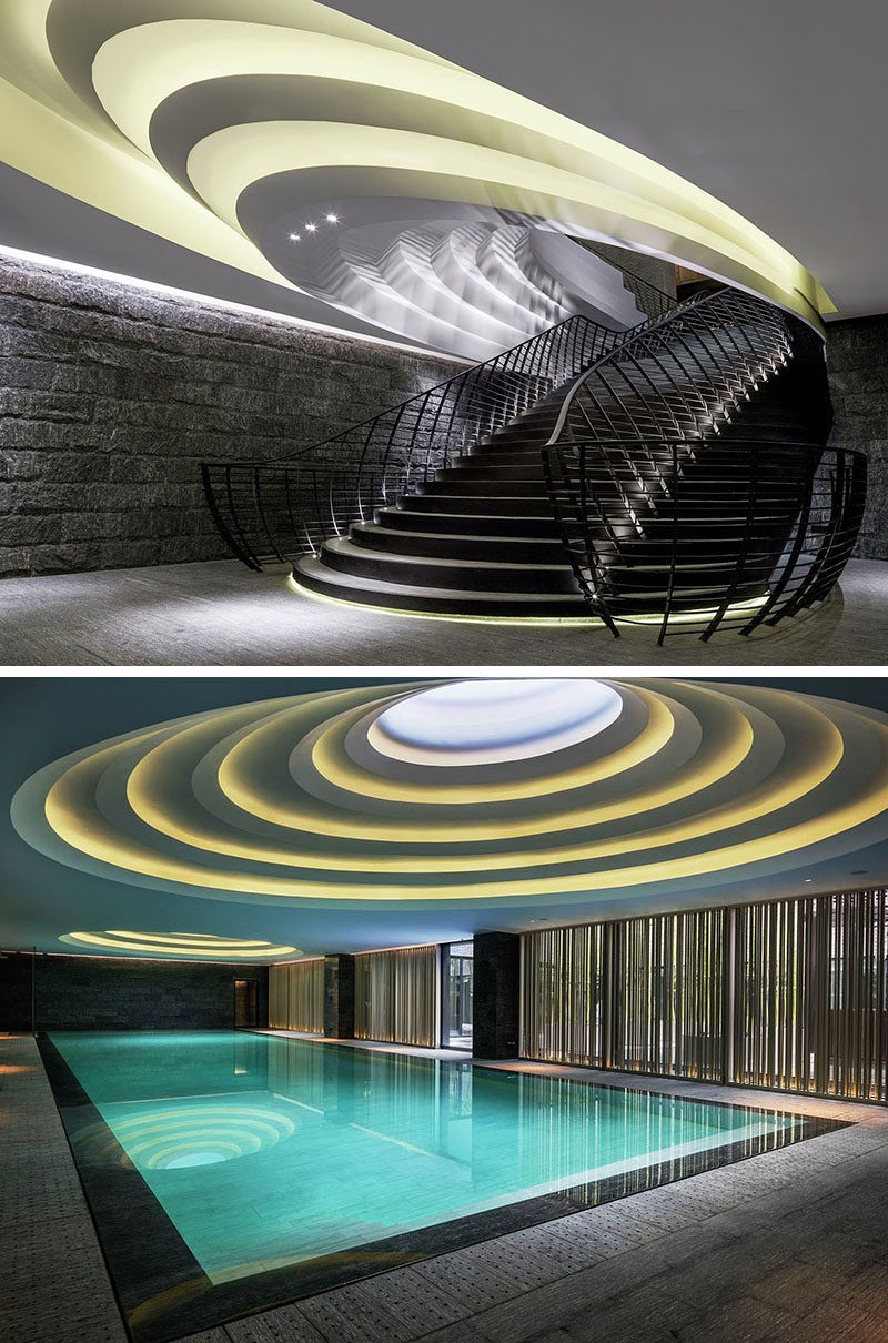 13 Amazing Examples Of Creative Sculptural Ceilings // These ceilings in a hotel in China, were inspired by the terraced rice fields that are part of the regional culture.
