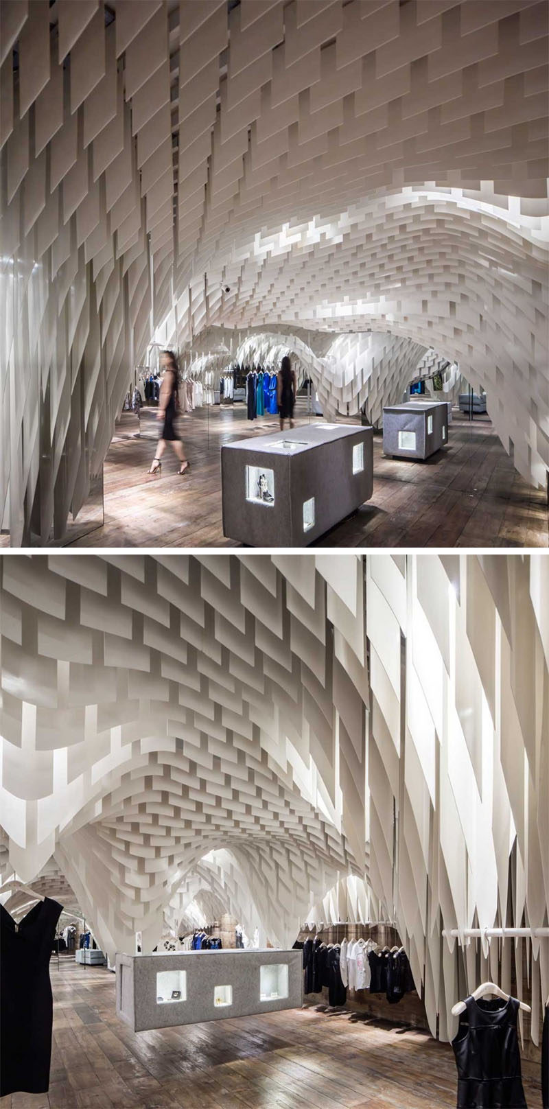 13 Amazing Examples Of Creative Sculptural Ceilings // More than 10,000 strips of a very thin white translucent fiberglass material was used to create a unique look for this clothing store.