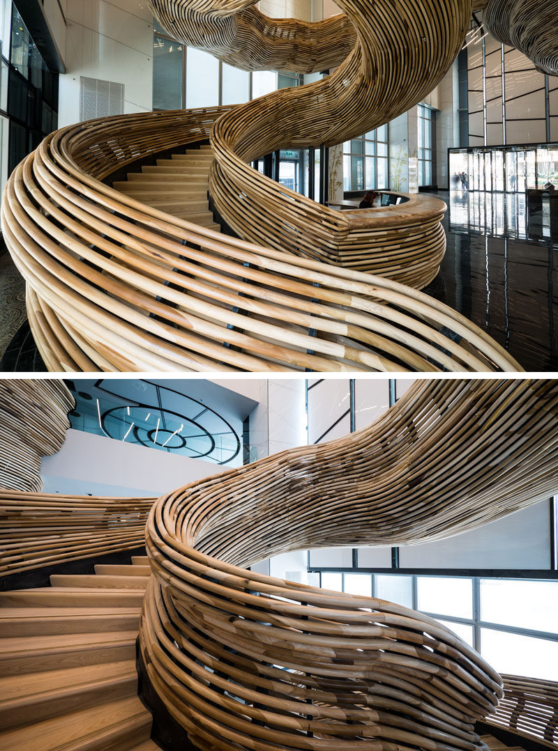 Over 29,500 Feet Of Poplar Was Used To Create This Artistic Spiral Staircase