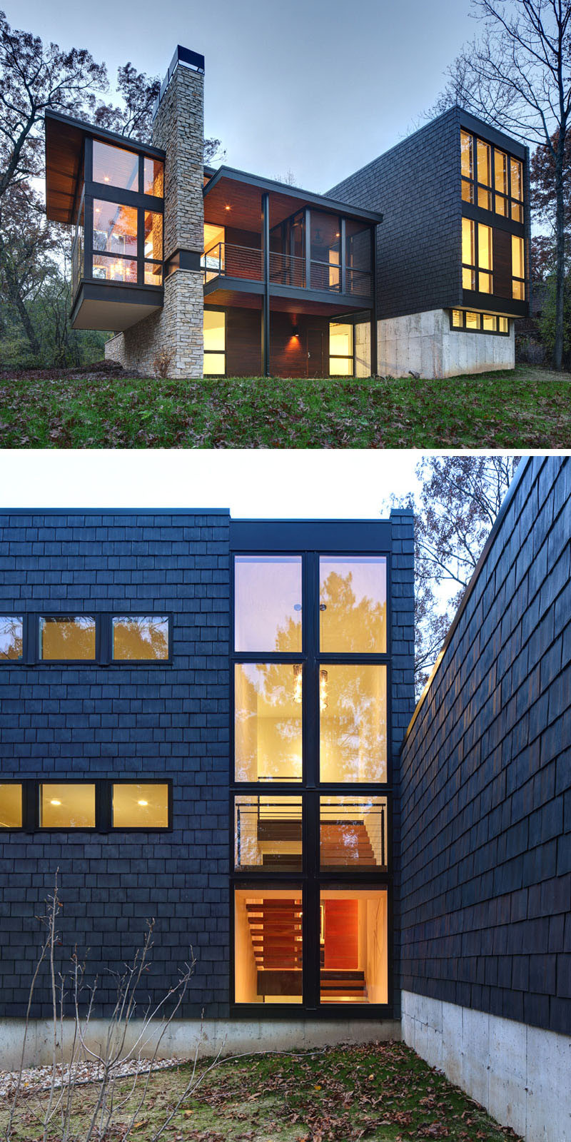 13 Examples Of Modern Houses With Wooden Shingles // This contemporary house in Wisconsin decided to dark with the shingles.