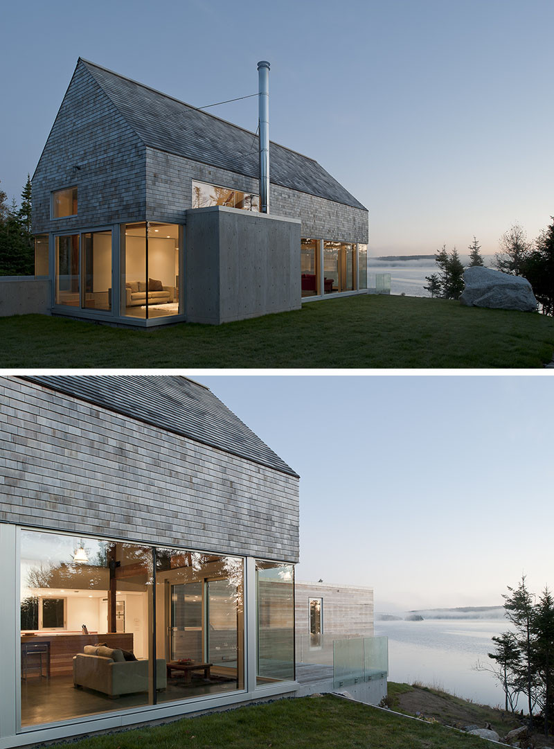 13 Examples Of Modern Houses With Wooden Shingles // The shingles are a perfect match to the ocean for this coastal home.