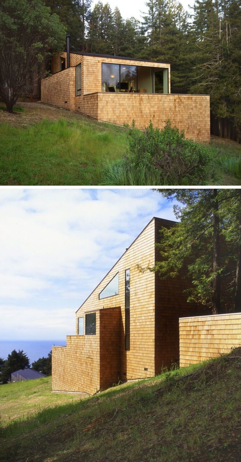 13 Examples Of Modern Houses With Wooden Shingles // The only parts of this house not covered in shingles are the windows.