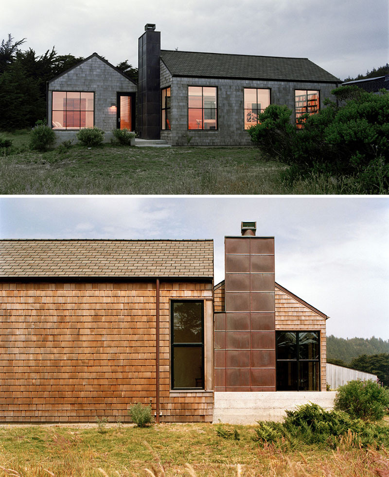 13 examples of modern houses with wooden shingles for Modern wood house