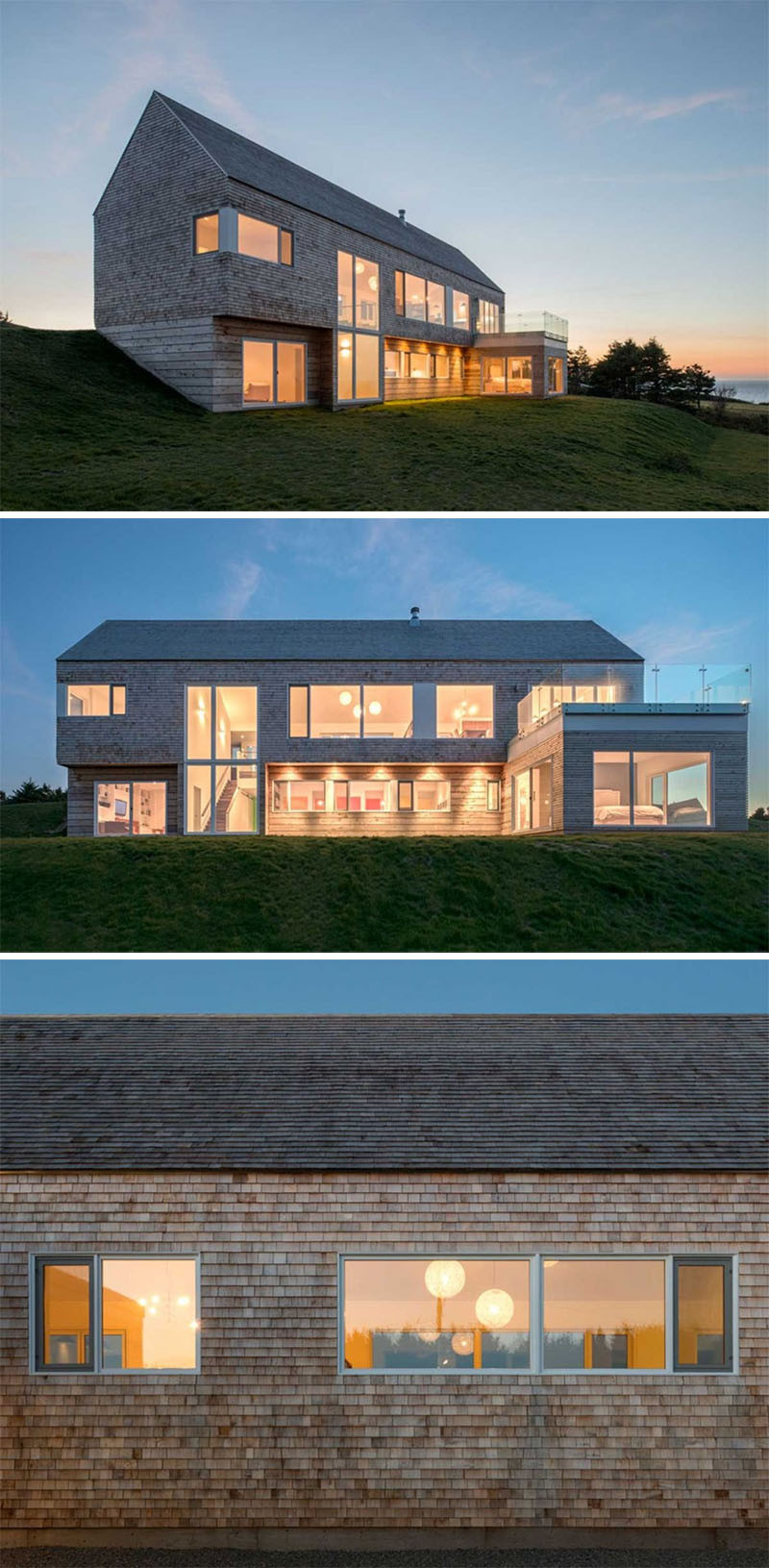 13 Examples Of Modern Houses With Wooden Shingles // This home covered in shingles has views of the ocean and Inverness in Nova Scotia, Canada.