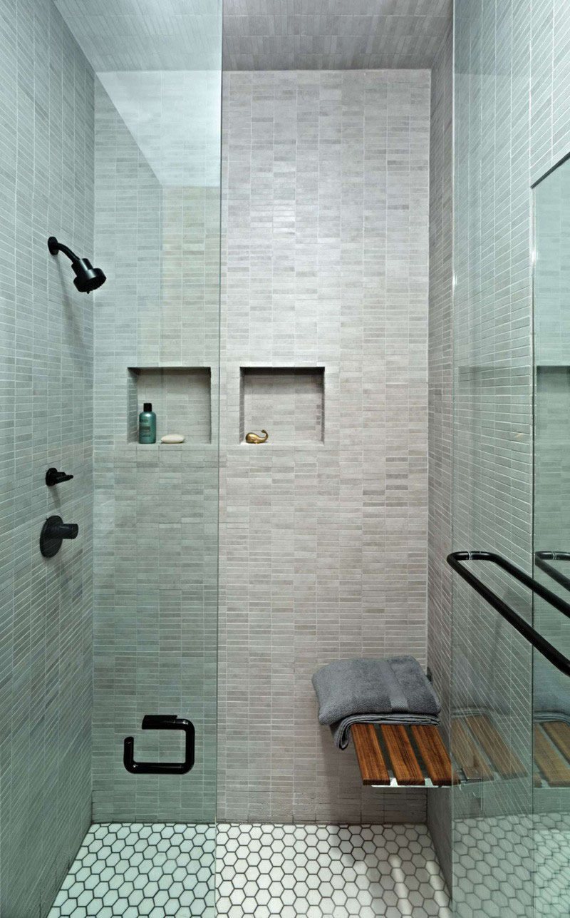12 Ideas For Including Built-In Shelving In Your Shower // This tiny apartment will take all the storage help it can get, even in the shower!