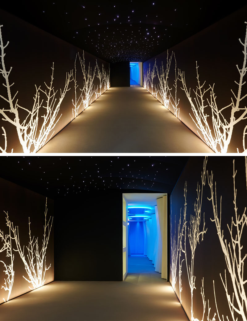 The dark entrance to this spa has lit up artistic trees lining the walls.