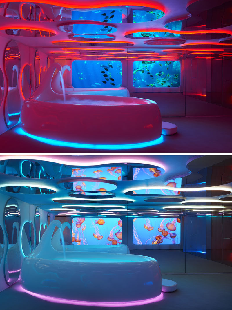 Screens of aquatic life can be changed easily in this futuristic spa.