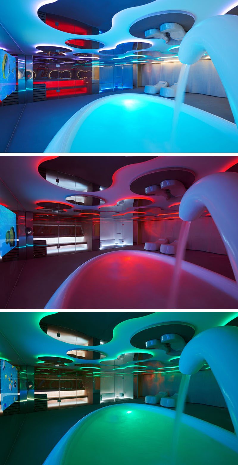 This room in a spa can have the colors changed depending on the desired mood.