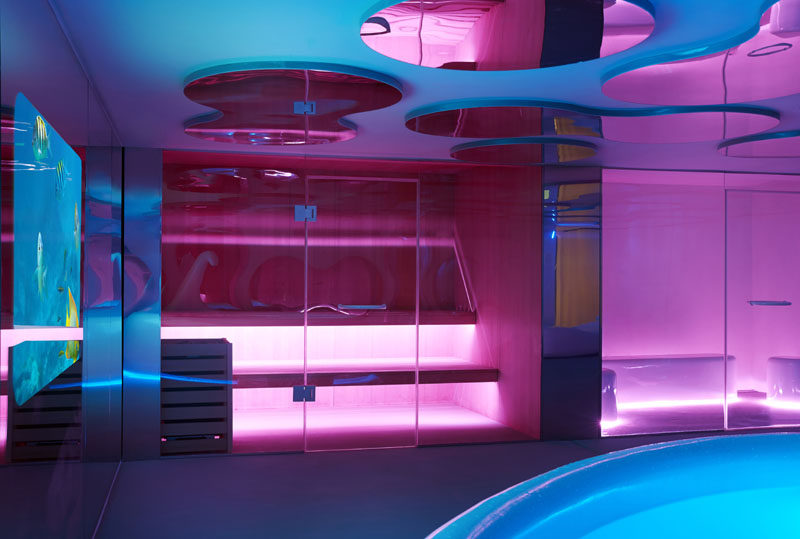The spa in this sauna can be lit up and change color.