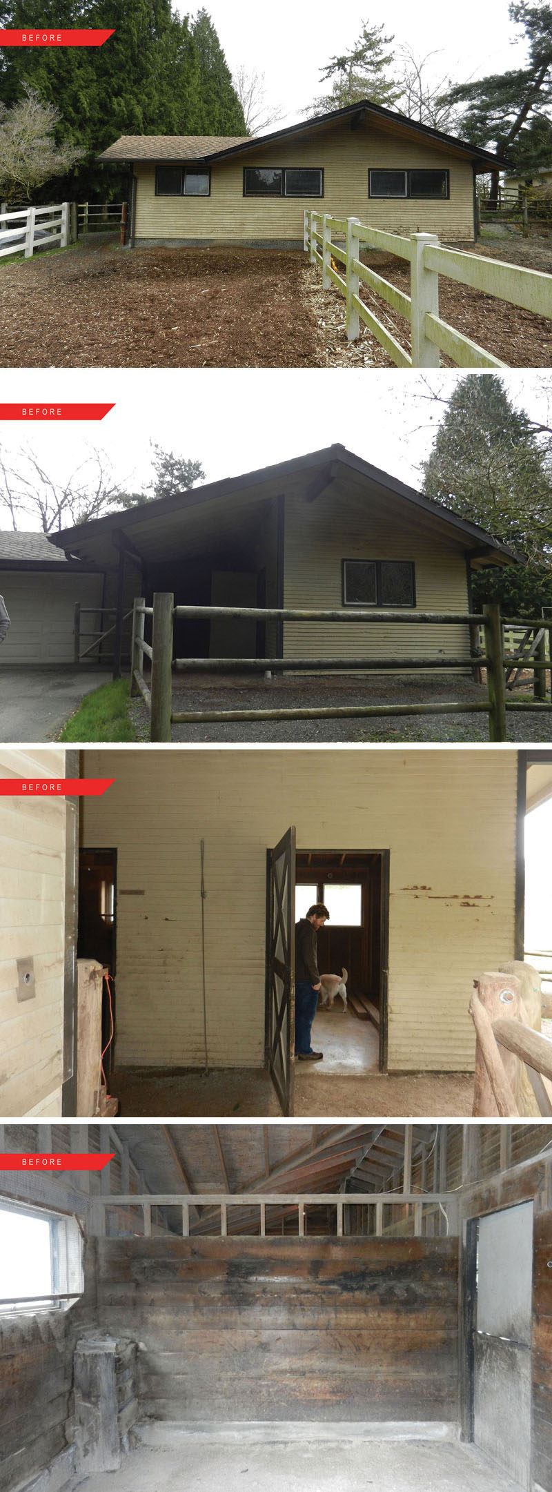 Before After A Horse Stable Is Transformed Into Space For Living